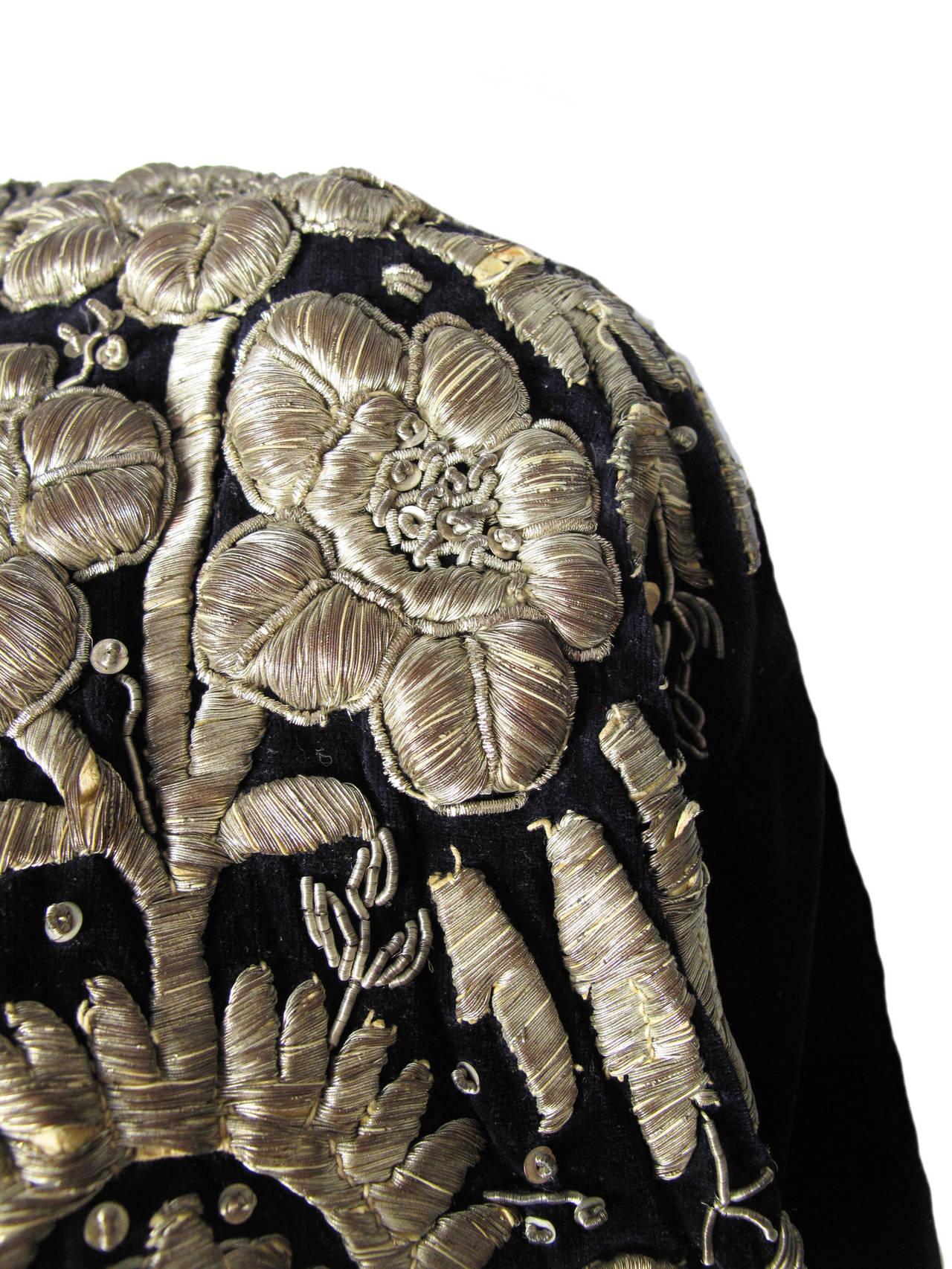 Harem Coat black velvet with gold thread 4