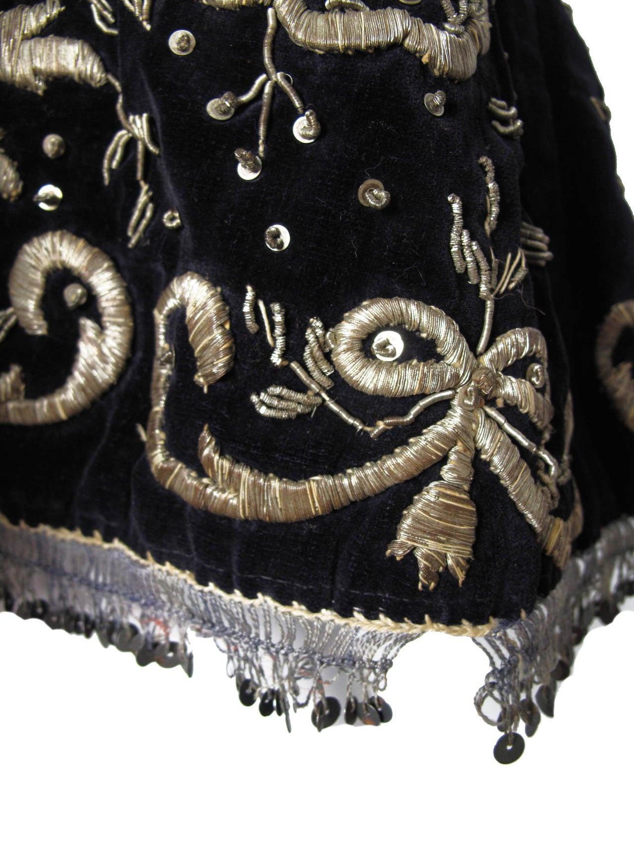 Harem Coat black velvet with gold thread 2