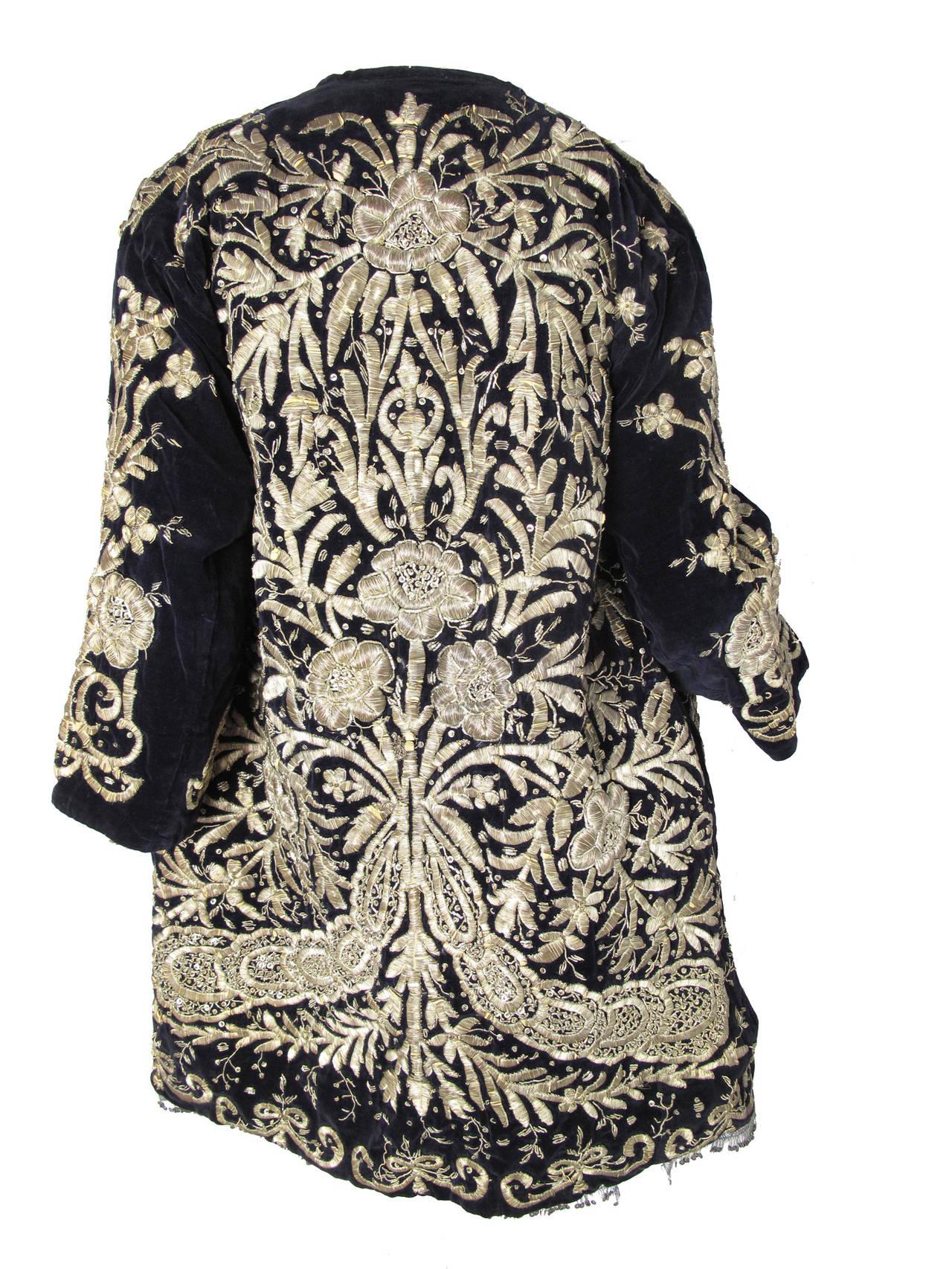 Harem Coat black velvet with gold thread 3