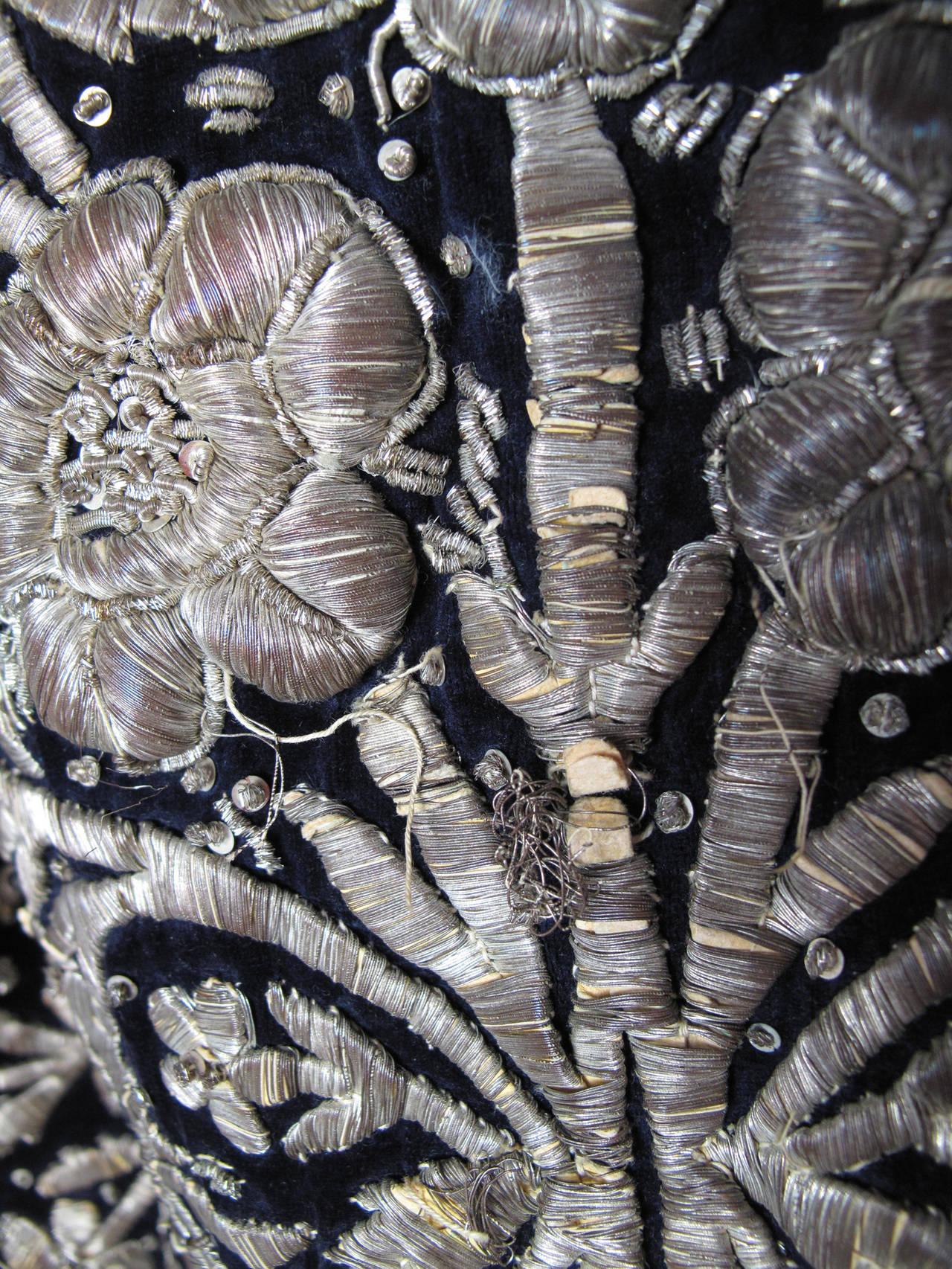 Harem Coat black velvet with gold thread 6