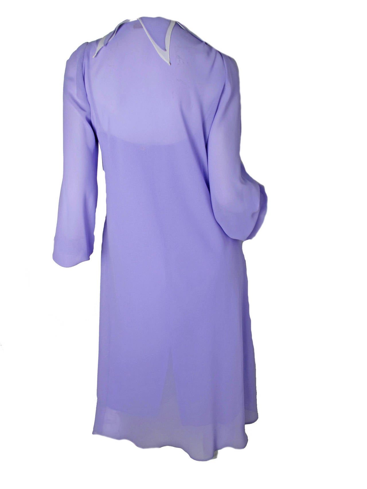"""Sant Angelo sheer purple dress with slip. Petal collar and tie.  No fabric label, possible silk blend. Condition: good, pull in fabric.  Slip: 32"""" bust, 31"""" waist, 36"""" hips, 40"""" length. Dress: 36"""" bust, 44"""" waist, 51"""" hips, 27 1/2"""" sleeve, 43 1/2"""""""