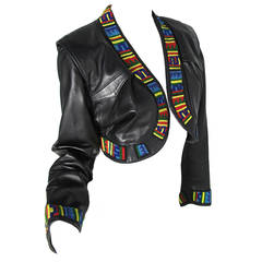 1980s Numbered Jean Claude Jitrois Leather Cropped Jacket with Beading
