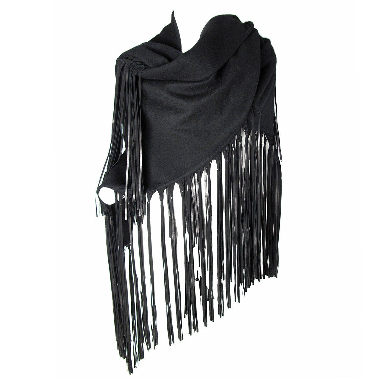 1980s Hermes Black Wool Shawl with Leather Fringe For Sale