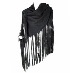 1980s Hermes Black Wool Shawl with Leather Fringe