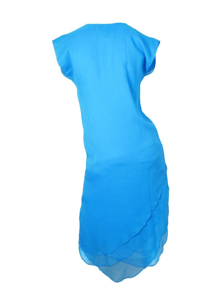 Giorgio di Sant' Angelo bright blue tiered dress For Sale 1