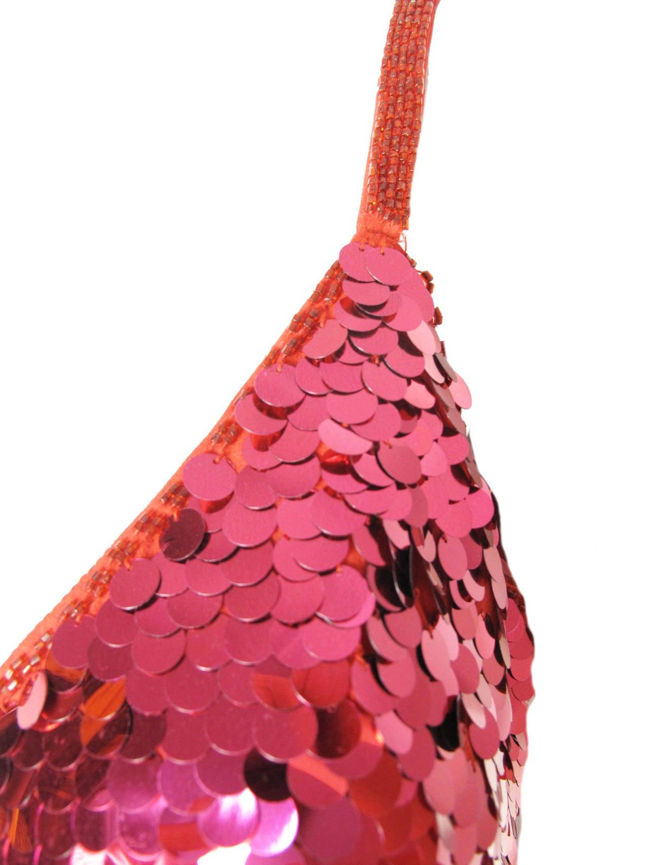 1980s Oleg Cassini red sequin cocktail dress 3