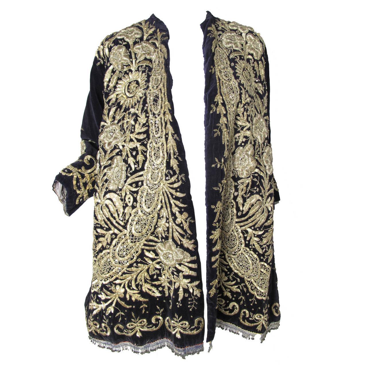 Harem Coat black velvet with gold thread 1