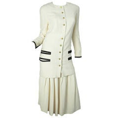 Chanel Silk Long Jacket and Pleated Skirt - sale