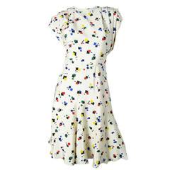 Rare 1980s Michael Novarese Silk Dress