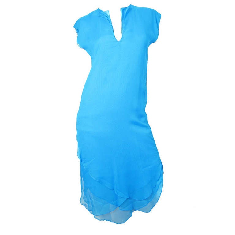 Giorgio di Sant' Angelo bright blue tiered dress For Sale