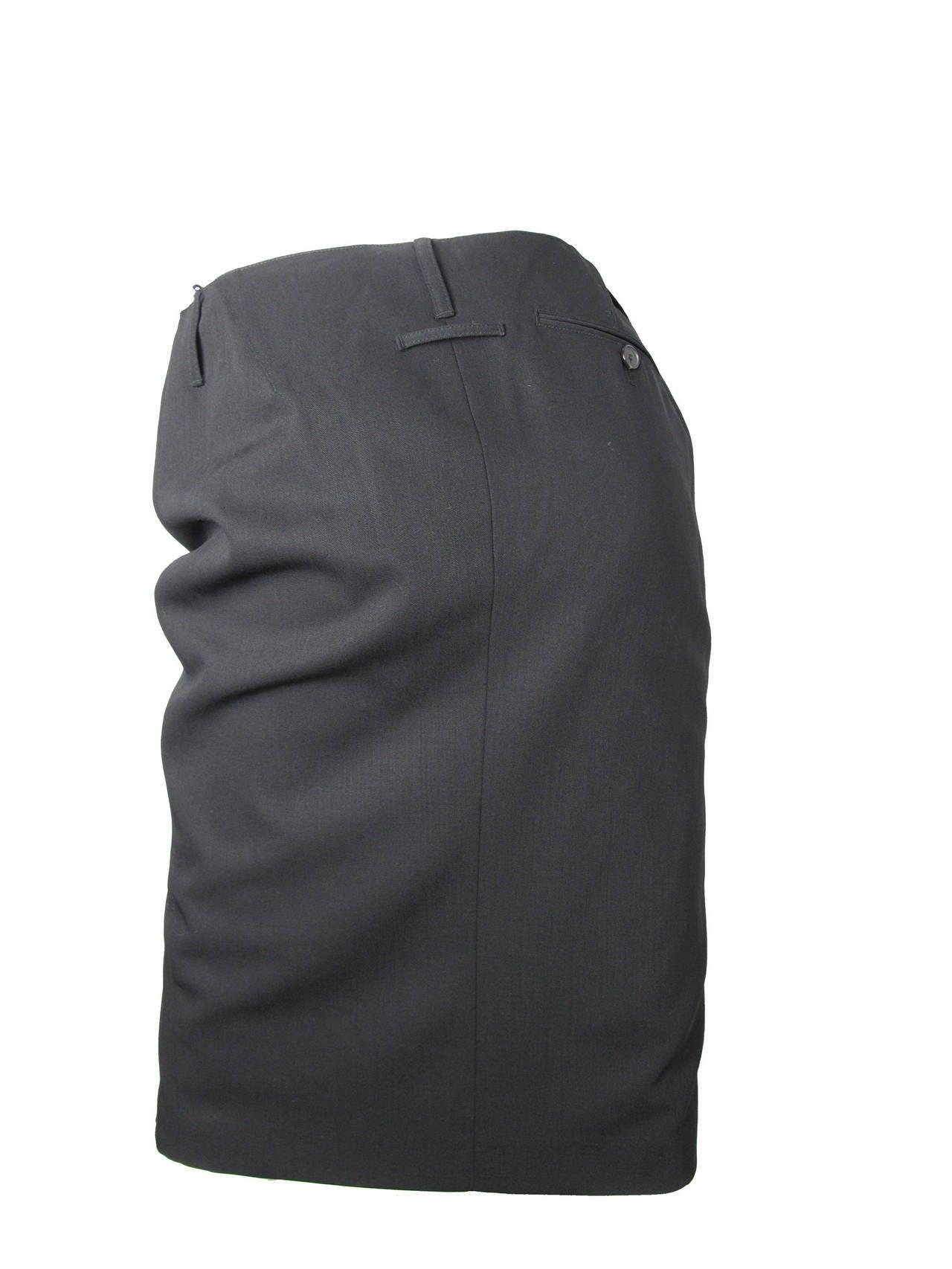 Jean Paul Gaultier black pencil skirt, lace slip 2