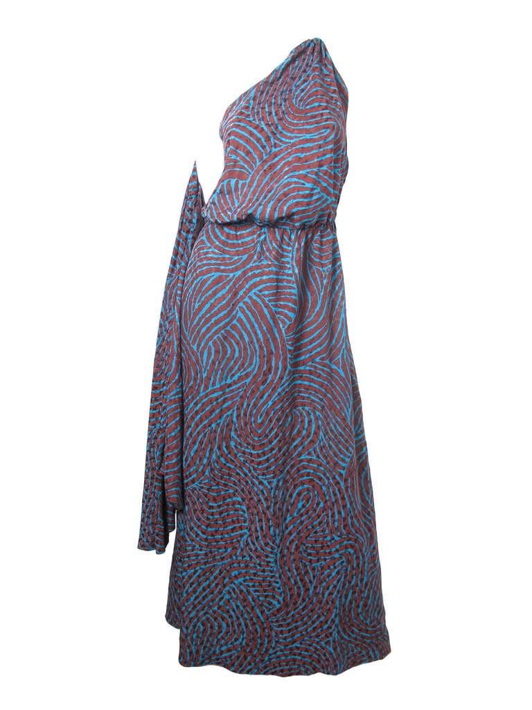Rare Yves Saint Laurent one shoulder silk gown - sale 2
