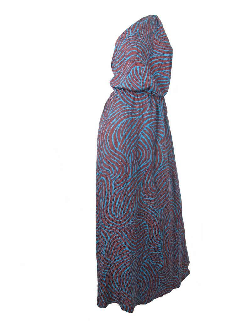 Rare Yves Saint Laurent one shoulder silk gown - sale 3