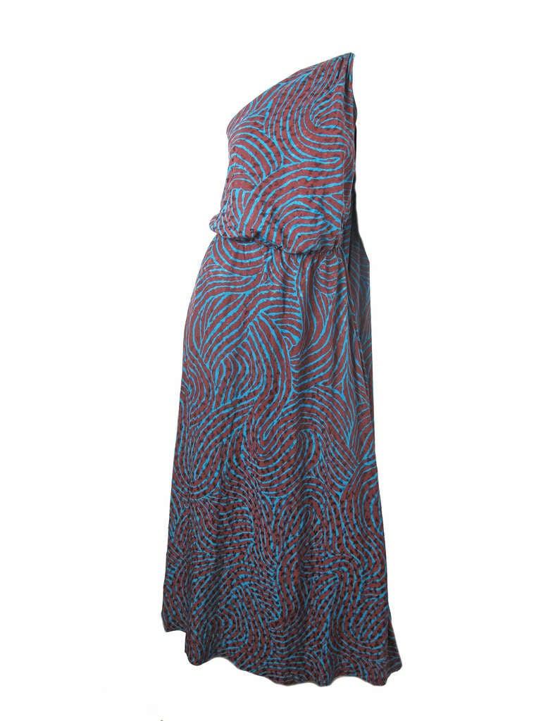 Rare Yves Saint Laurent one shoulder silk gown - sale 6