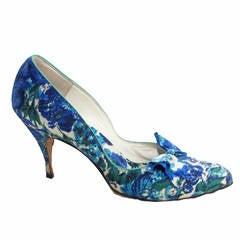 1950s Christian Dior Blue Floral Heels