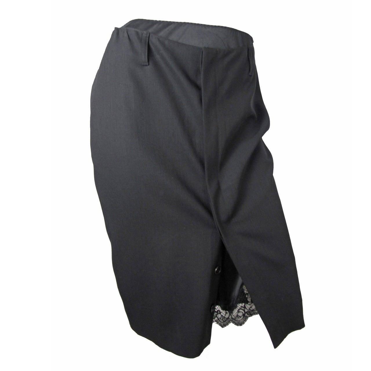 Jean Paul Gaultier black pencil skirt, lace slip 1