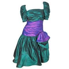 Mignon Green and Purple Taffeta Dress