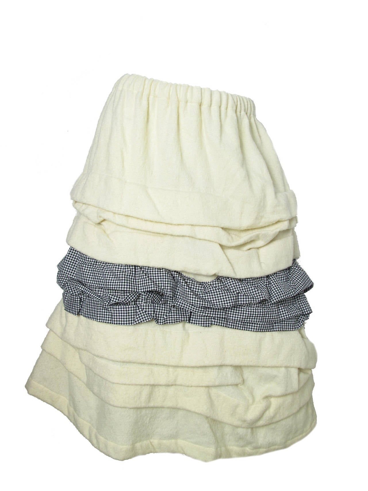 Comme des Garcons Ruffle Skirt with Gingham  In Excellent Condition For Sale In Austin, TX