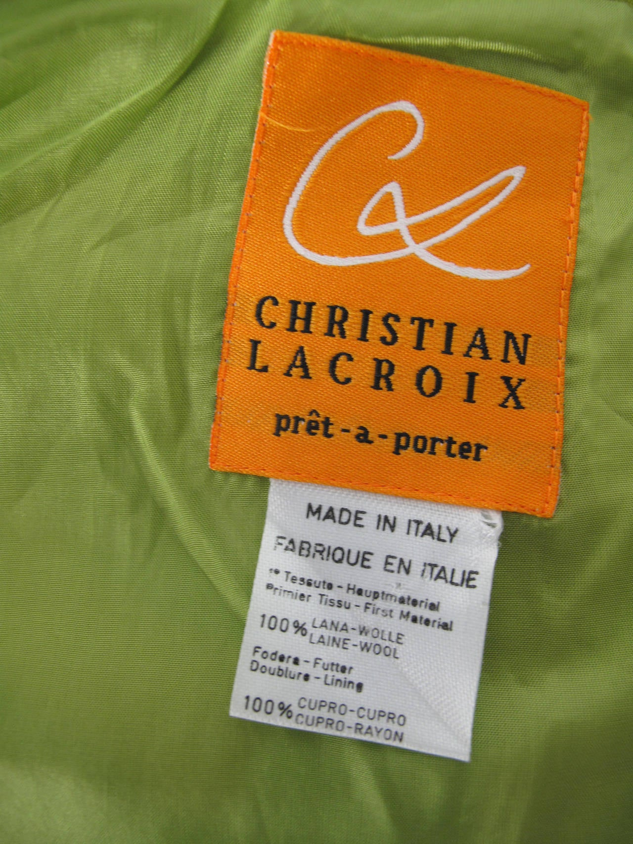 Women's 1990s Christian Lacroix Neon Green Jacket For Sale