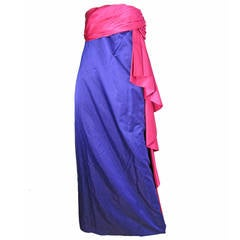 1970s Bill Blass Strapless Satin Gown