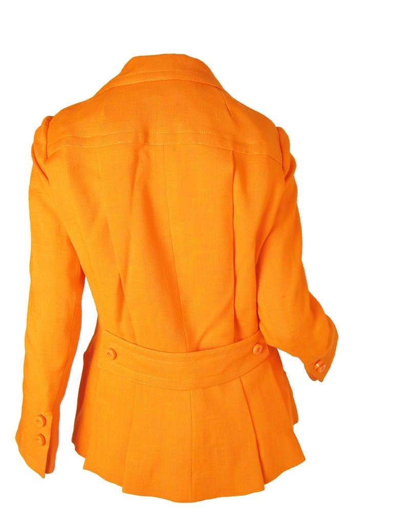 Orange 1960s Geoffrey Beene Linen Jacket For Sale
