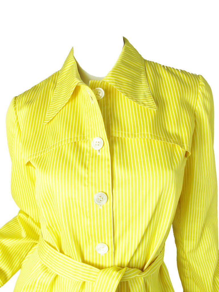 1970s Valentino yellow and white striped cotton jacket 2