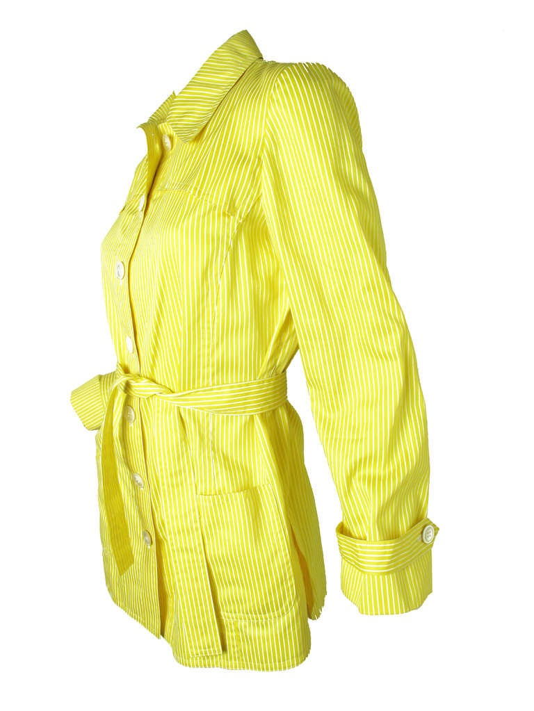 1970s Valentino yellow and white striped cotton jacket 3