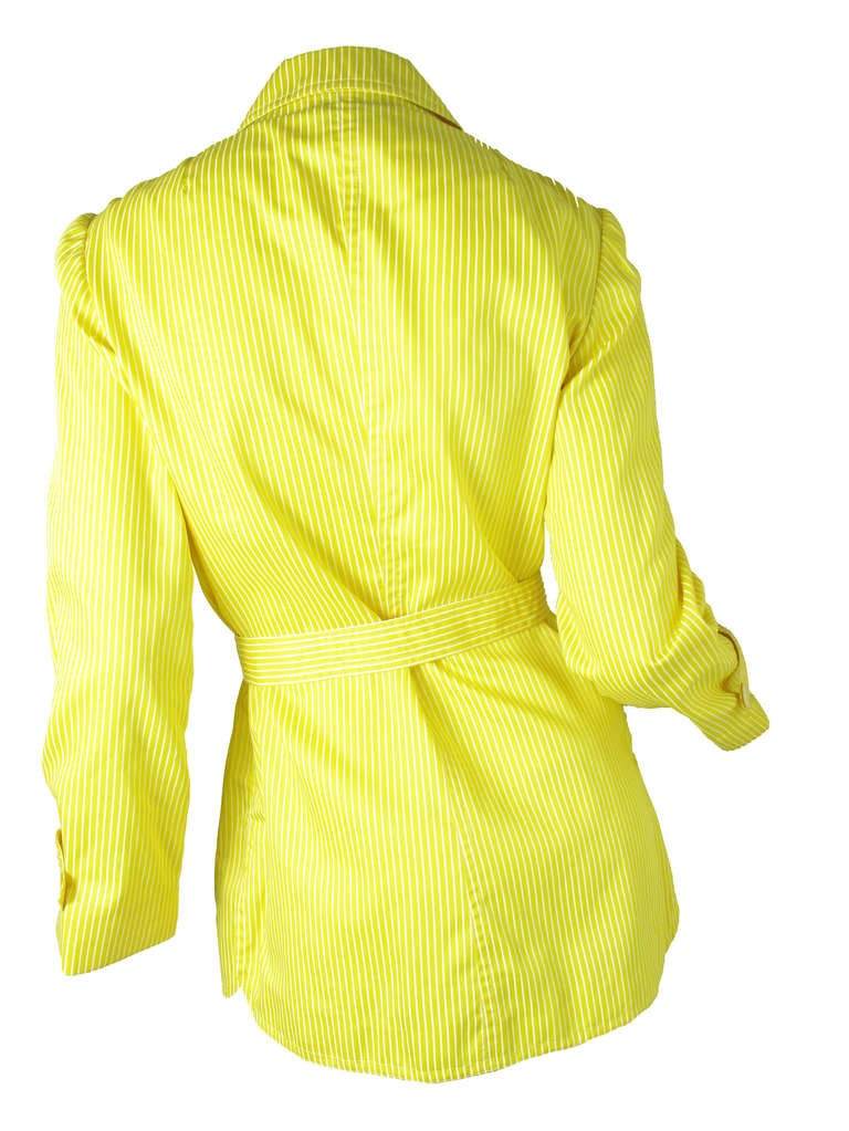 1970s Valentino yellow and white striped cotton jacket 4