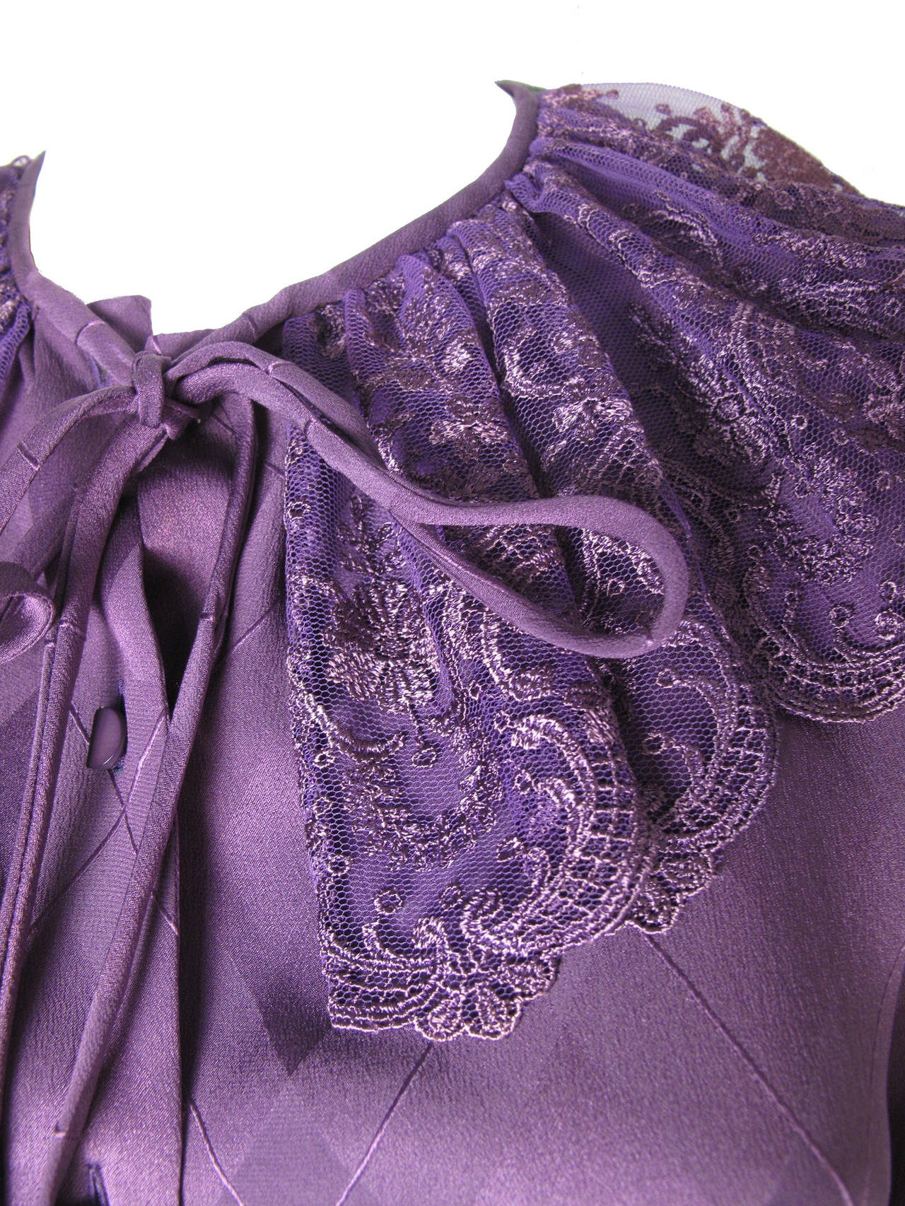 Women's Valentino Purple Silk Blouse with Lace Collar For Sale