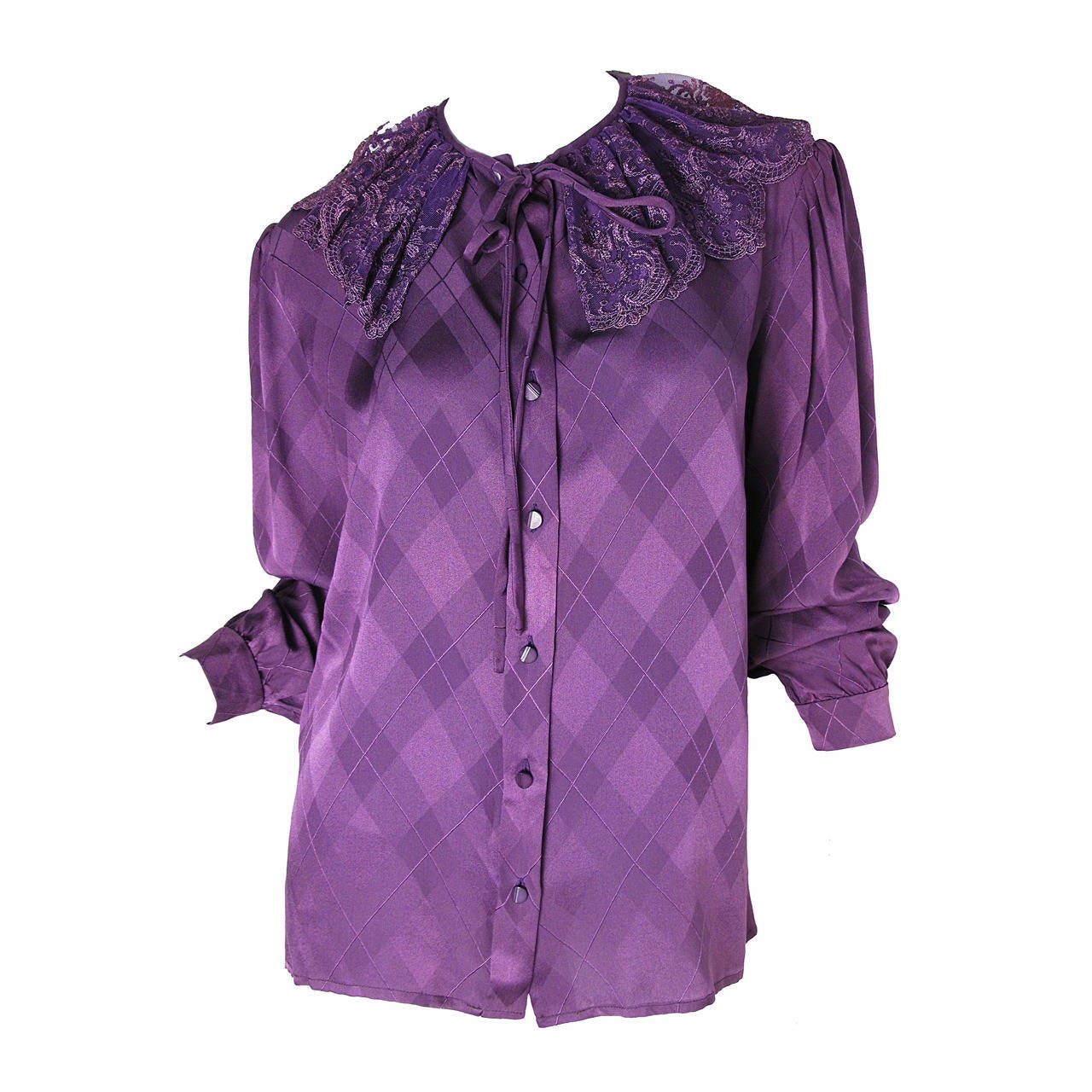 Valentino Purple Silk Blouse with Lace Collar For Sale