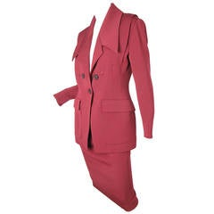 Karl Lagerfeld maroon wool gabardine suit with arrow stitching