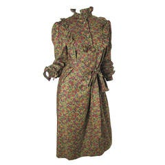1970s Nina Ricci Floral Peasant Dress