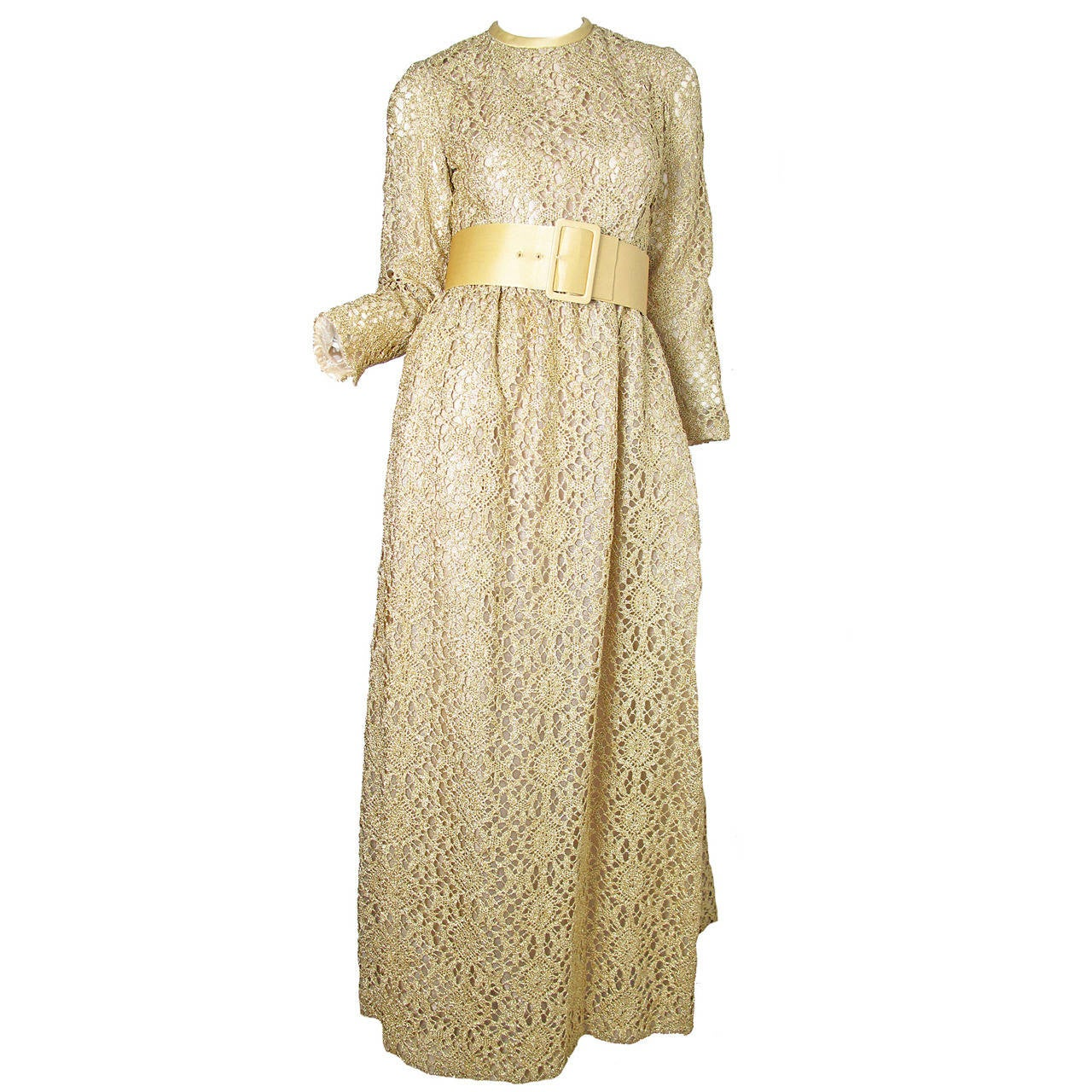 1960s Claudia by George Halley Gold Metallic Lace Gown