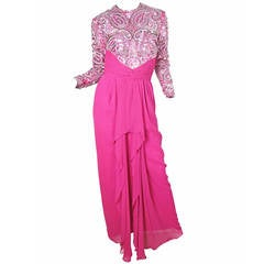 1980s Naeem Khan Riazee Nights Fuchsia Silk Gown with Beading and Sequins