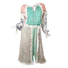 1970s Koos Van Den Akker silk floral top and skirt