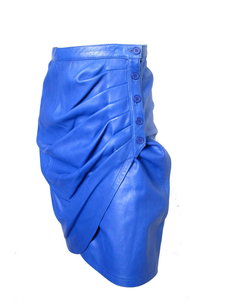 ungaro blue leather skirt 1980s at 1stdibs