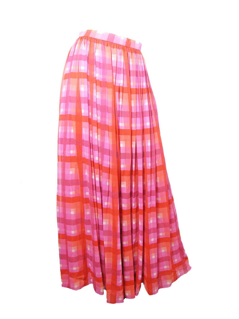 1970s Gucci plaid silk chiffon sheer evening set - sale 5
