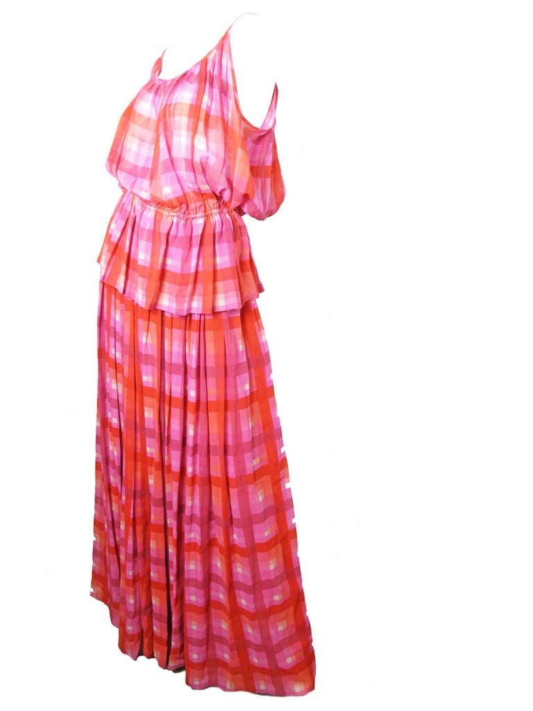 1970s Gucci plaid silk chiffon sheer evening set - sale 2