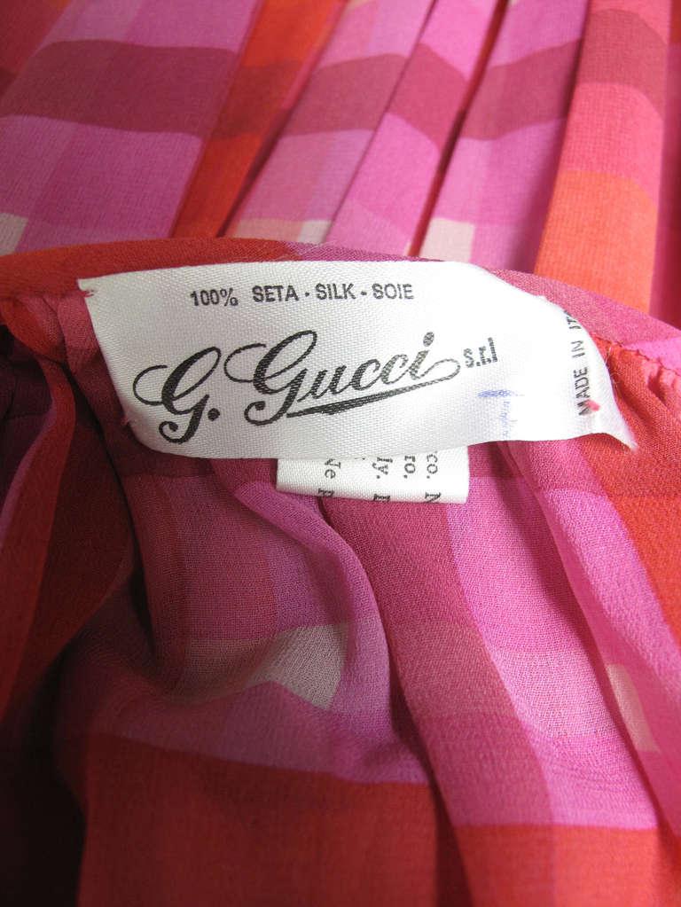 1970s Gucci plaid silk chiffon sheer evening set - sale 7