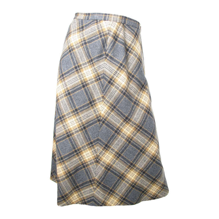 1970s valentino plaid a line skirt at 1stdibs