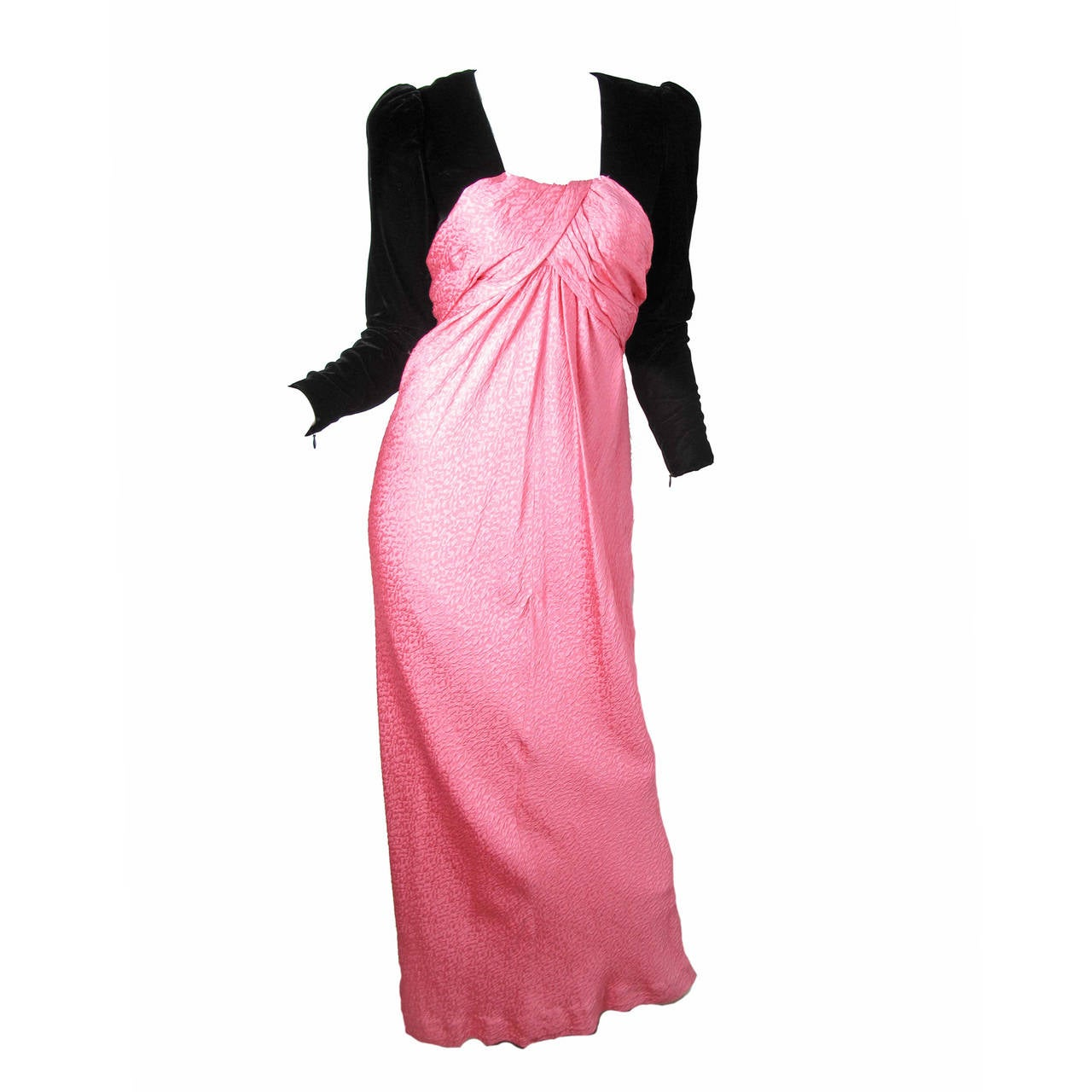 Oscar de la Renta Pink Gown with Black Velvet