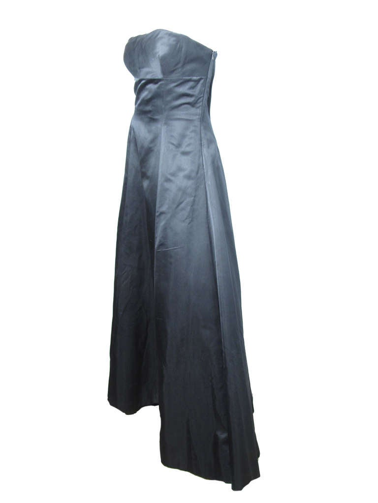 1990s Richard Tyler Couture black satin ball gown.  Excellent condition. 36