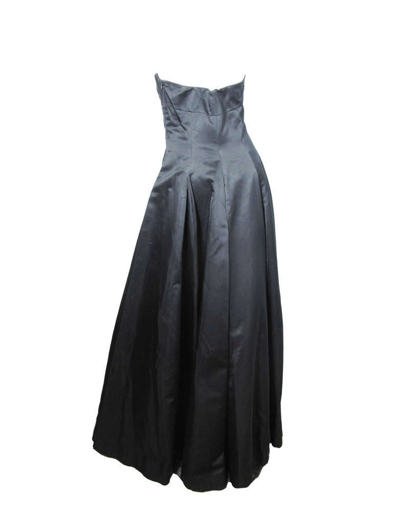 Black 1990s Richard Tyler Couture strapless ballgown For Sale