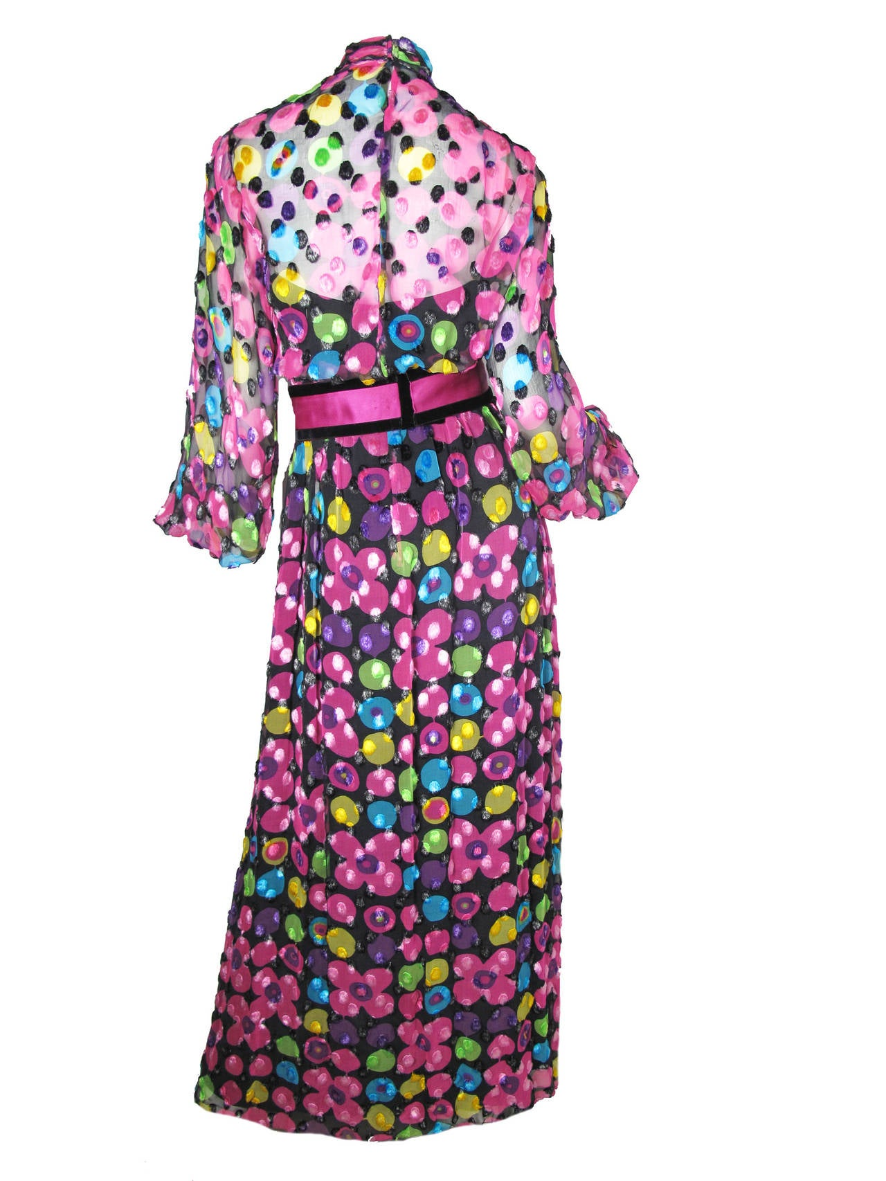 Mollie Parnis Silk Chiffon Maxi Gown with Velvet Dot Design, 1960s  In Excellent Condition For Sale In Austin, TX