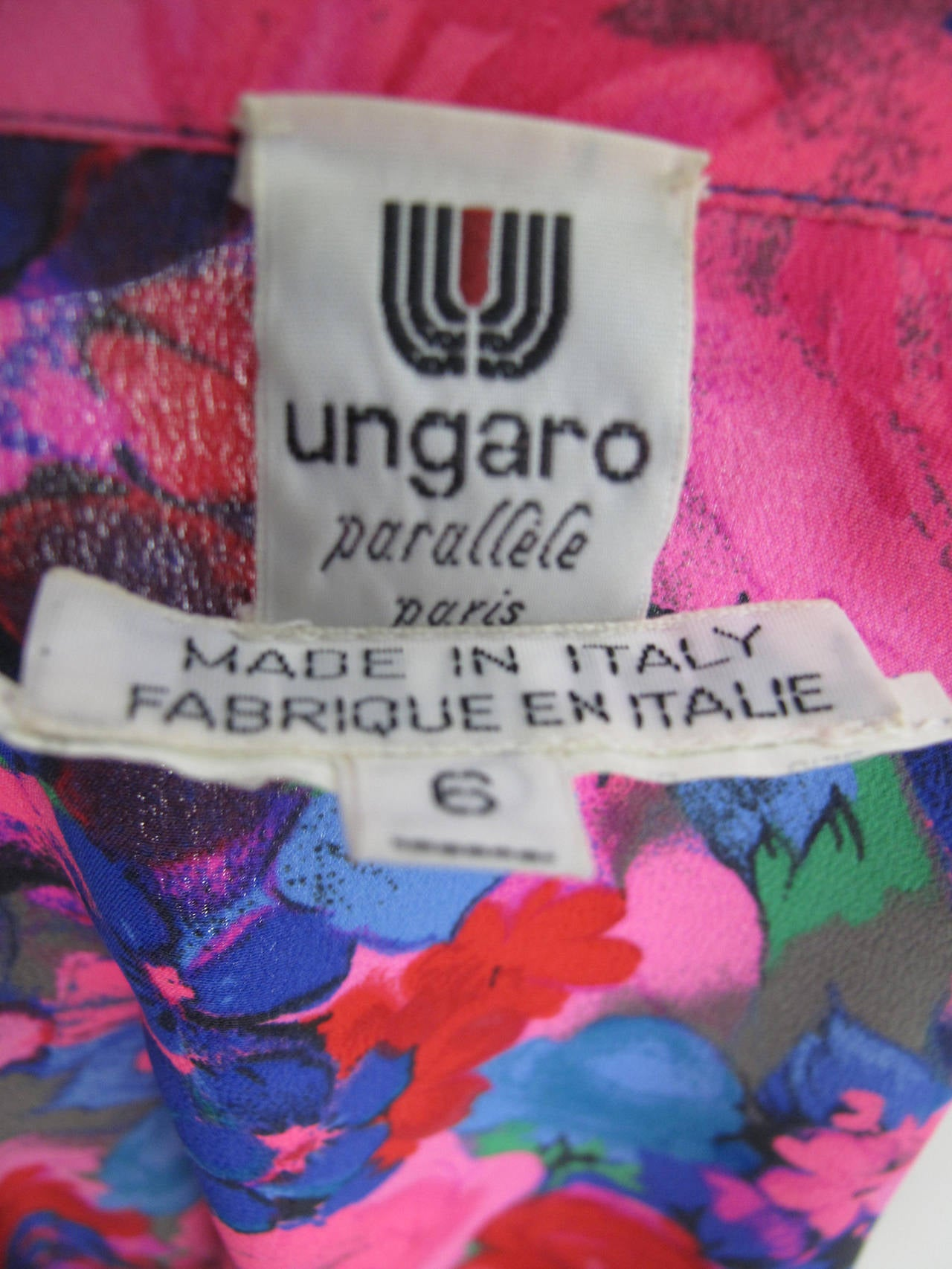 Ungaro Silk Floral Blouse with Pleating In Excellent Condition For Sale In Austin, TX