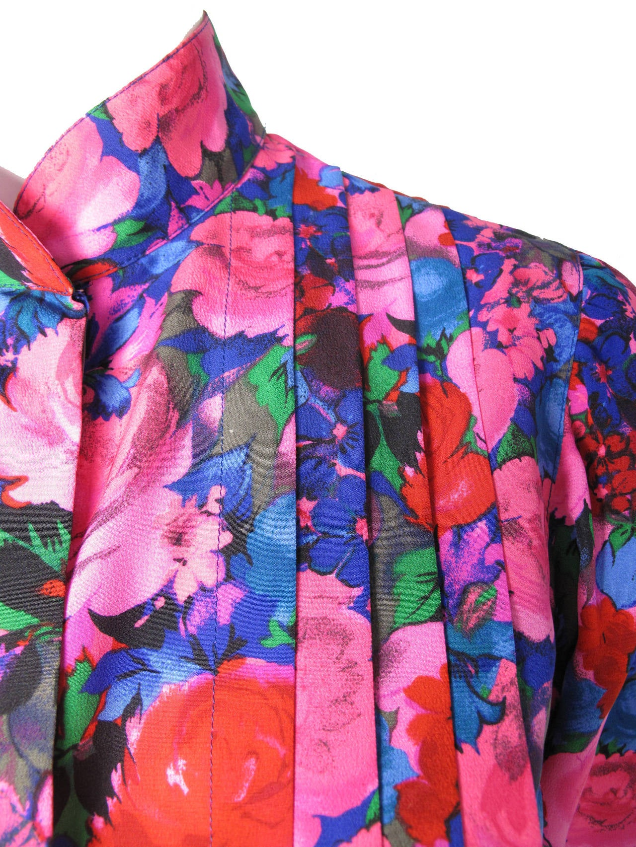 Women's Ungaro Silk Floral Blouse with Pleating For Sale