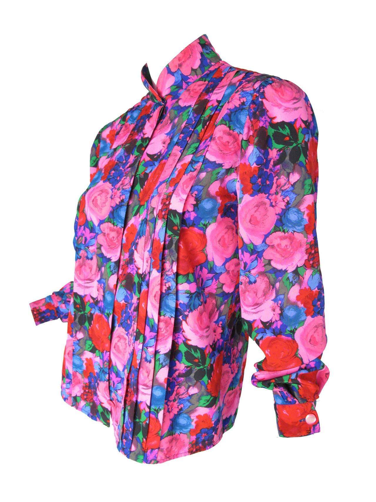 Pink Ungaro Silk Floral Blouse with Pleating For Sale