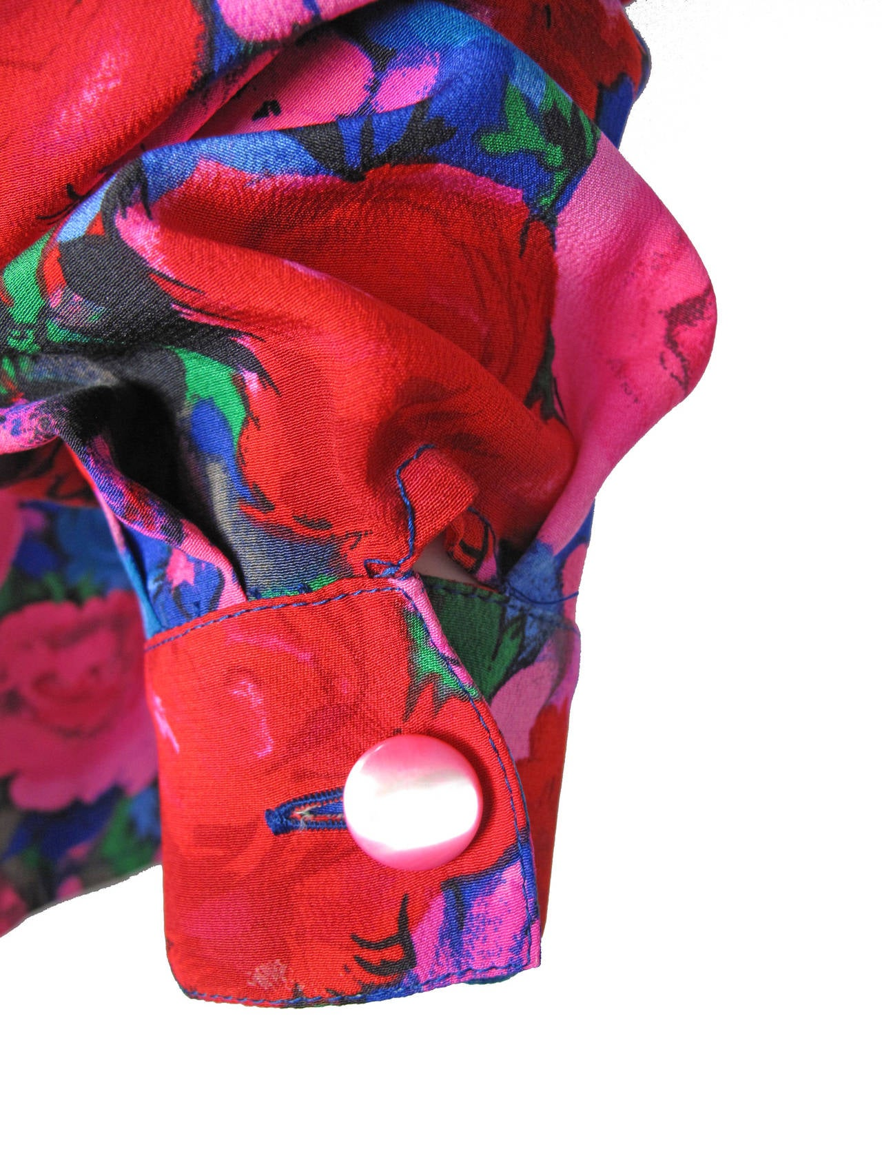 Ungaro Silk Floral Blouse with Pleating For Sale 1
