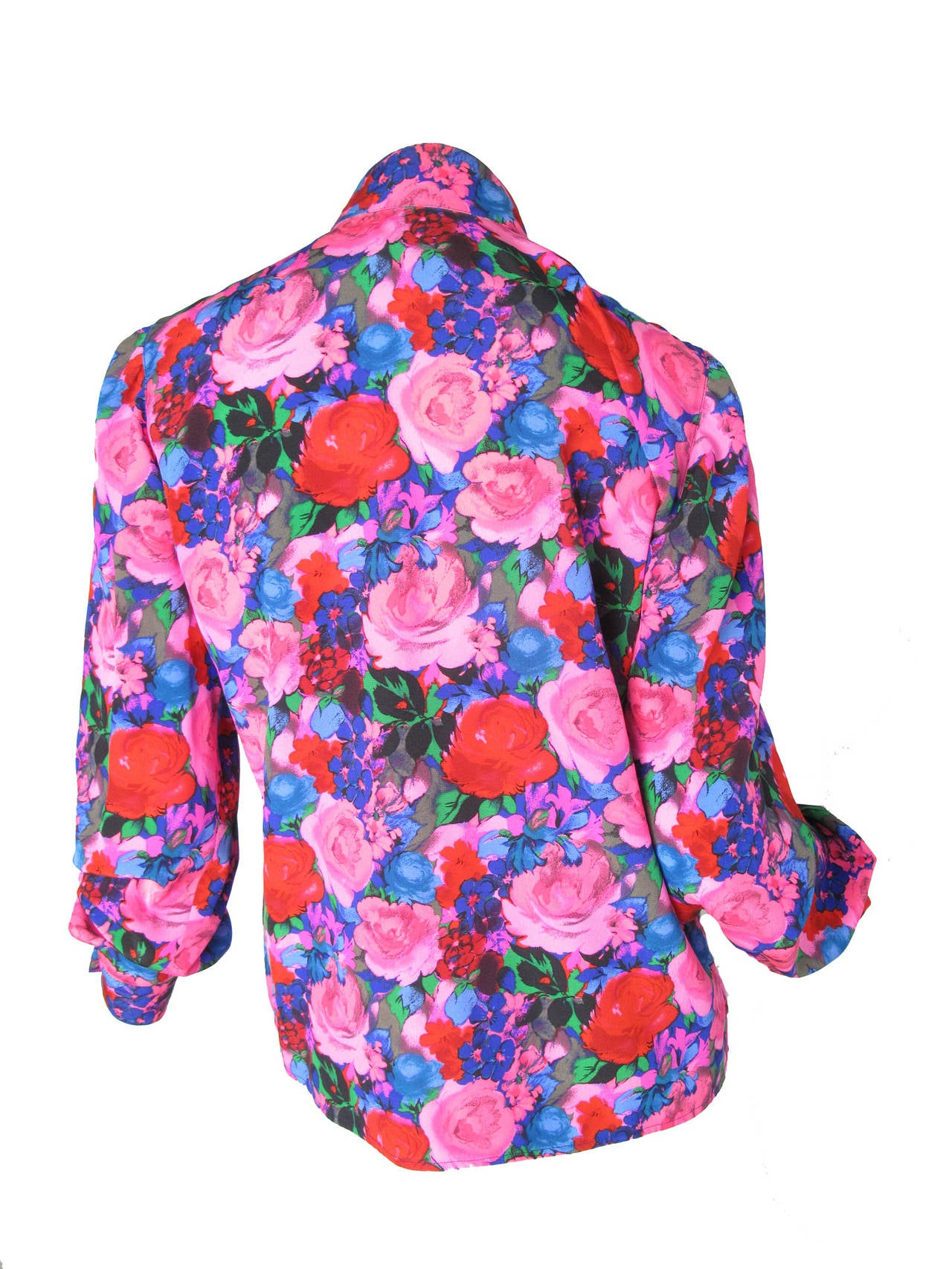 """Ungaro silk floral blouse with pleating   40"""" bust, 38"""" waist, 24"""" sleeve, 15 1/2"""" shoulder ,  23"""" length.  Size 6"""