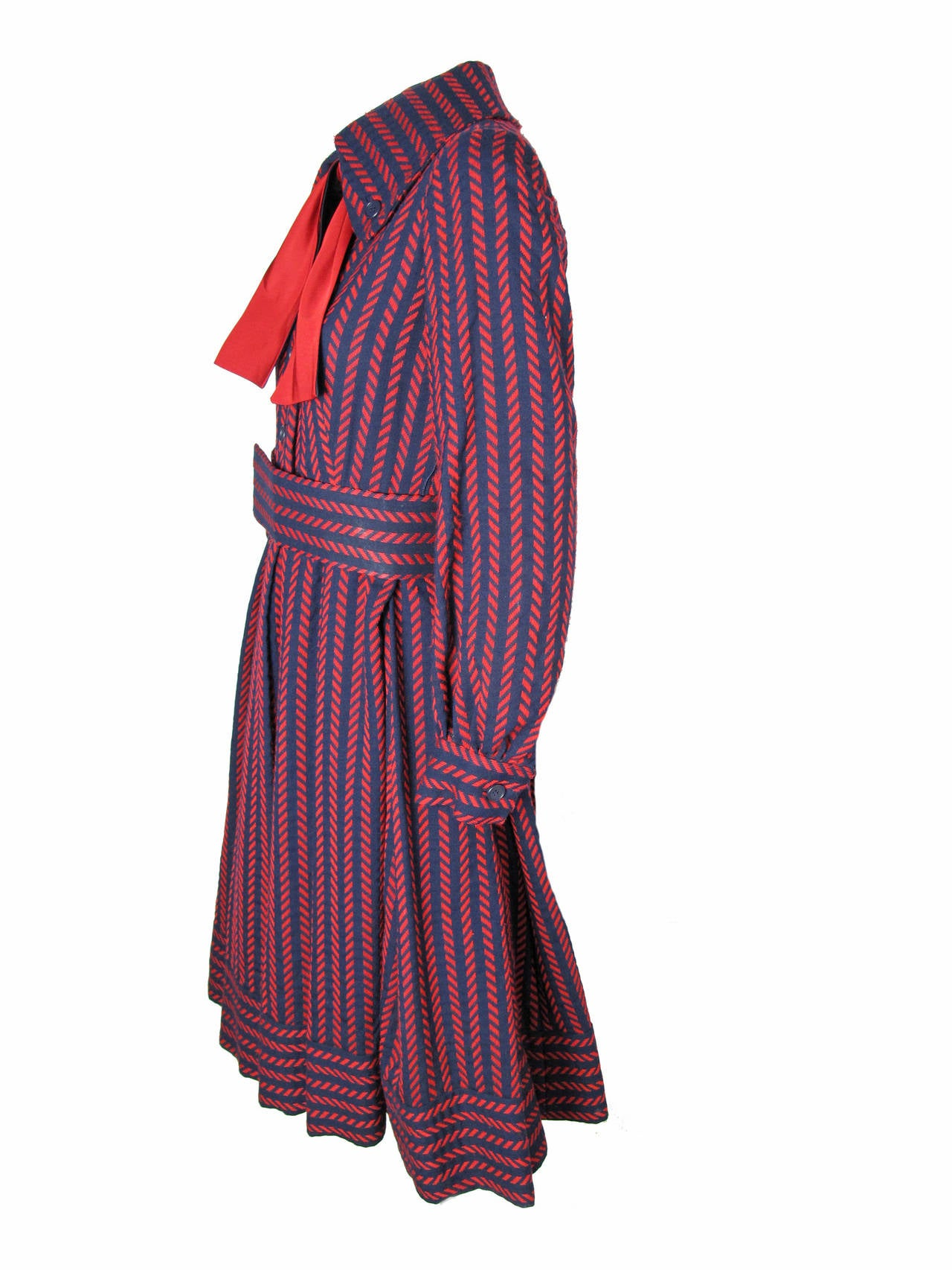 Black 1970s Geoffrey Beene Navy and Red Coat Dress -sale For Sale
